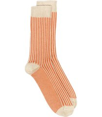 thunders love striped cable-knit socks - orange