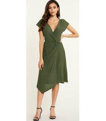 yoins army green deep v cuello delgado vestido