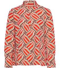 aderyn printed blouse blus långärmad röd morris lady