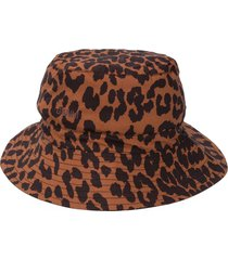 ganni leopard-print bucket hat - brown