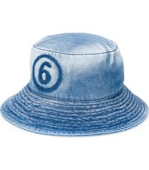 mm6 maison margiela logo denim bucket hat - blue