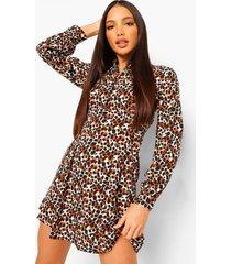 dierenprint blouse jurk met knopen, brown