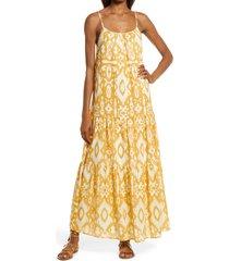 bb dakota by steve madden turtle island batik print maxi dress, size small in tuscan yellow at nordstrom