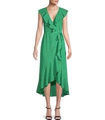 ruffled printed wrap dress