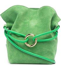 tubici o-ring suede crossbody bag - green