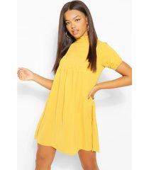 gesmokte jurk met pofmouwen, mustard