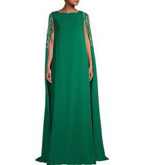 oscar de la renta women's embellished cape gown - evergreen - size s