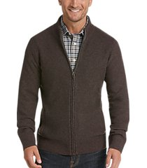 joseph abboud burgundy & gray full zip cardigan sweater