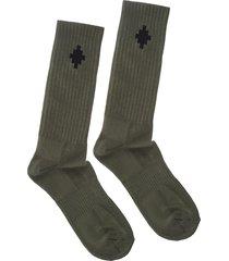 man olive green crossed socks