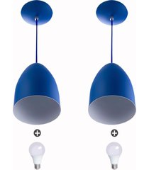 kit 2 lustre pendente cone de alumínio 20x14cm azul + lampad