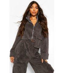 tall teddy pocket zip through crop sweater, dark grey