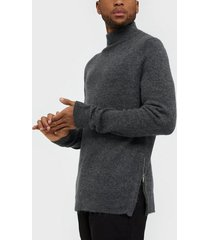 topman charcoal grey harlow zip funnel neck jumper tröjor charcoal
