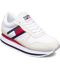 tommy jeans flatform runner sneakers skor vit tommy hilfiger
