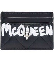 alexander mcqueen quilted leather card holder with logo print