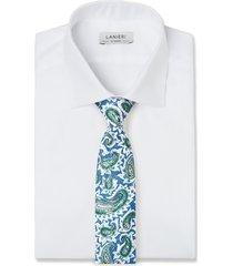 cravatta su misura, lanieri, paisley blu, primavera estate