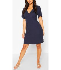 button front flutter sleeve tea dress, navy