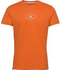 ck monotriangle tee t-shirts short-sleeved orange calvin klein jeans