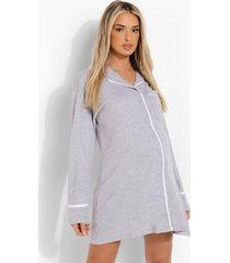 zwangerschap jersey nachtjapon met knopen, grey