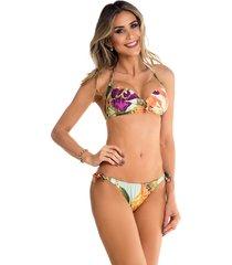 biquini com bojo e aviamento maré brasil roxo multicolorido