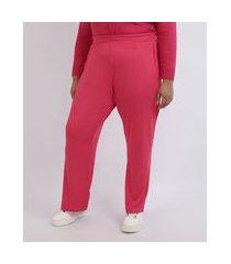 calça feminina mindset plus size pantalona cintura alta com bolsos pink