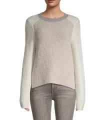 rag & bone women's davis wool-blend teddy sweater - ivory multi - size xxs