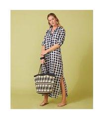camisão feminino -camisão adri cor: preto e branco estampado - tamanho: p