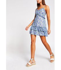 river island womens blue floral frill cami mini beach dress