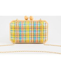 clara plaid clutch - multi