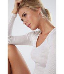 blusa de lã e seda com decote em v de cetim intimissimi lã e seda off-white