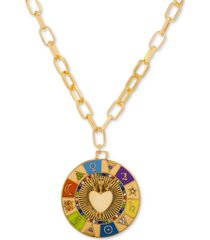 "steve madden gold-tone multicolor pave & multi-symbol heart 15"" pendant necklace"