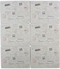 """6x französisch stil postkarte weiß grau rot laminiert kork platzdeckchen h9"""" x"""