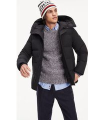 tommy hilfiger men's hooded canvas jacket jet black - xs