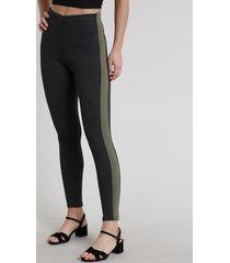 calça legging feminina com faixa lateral cinza mescla escuro