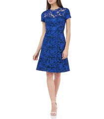 women's js collections embroidered lace cocktail dress, size 6 - blue