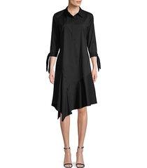 ruffle-trimmed cotton blend a-line dress