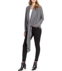 women's loveappella drape tie front cardigan, size medium - grey