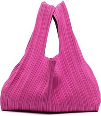 sminfinity pleated silk-blend tote bag - pink