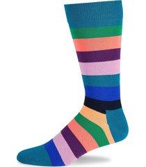 happy socks men's colorblock striped crew socks - green