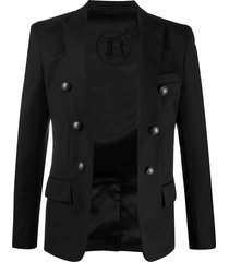 balmain structured-shoulder buttoned jacket - black