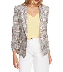 women's 1.state cassia ruched sleeve plaid blazer, size small - pink