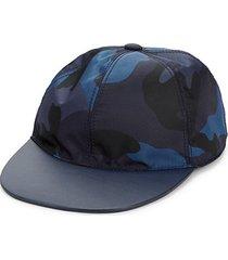 camouflage-print leather-trim cap