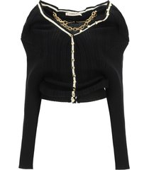 y/project ruffle cardigan with chain necklace