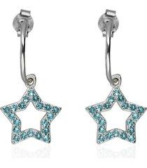 orecchini a cerchio con stella in argento e zirconi azzurri per donna