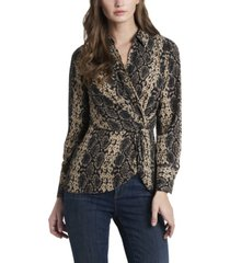 women's snake charm print peplum twist blouse