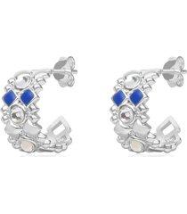 orecchini a cerchio 17 mm in ottone rodiato con cristalli e smalto blu per donna