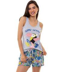 pijama short doll regata feminino tropical luna cuore