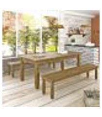conjunto mesa 1,82m e 2 bancos | banquetas rústico corona - ideal p/ area externa - madeira maciça
