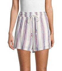 lea & viola women's striped drawstring shorts - white multi - size xs