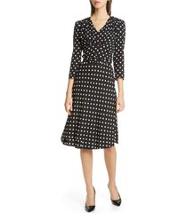 women's michael kors v-neck polka dot flared dress, size 2 - black