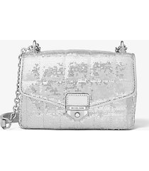 mk borsa a spalla soho piccola trapuntata con paillettes metallizzate - argento (argento) - michael kors